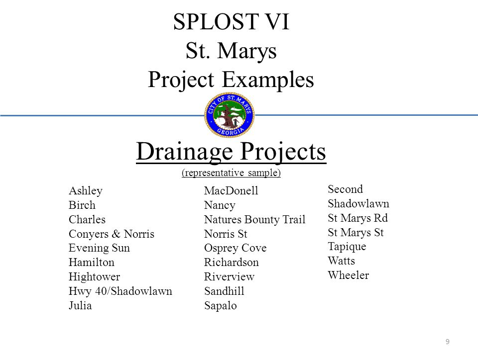 SPLOST VI St. Marys Project Examples Drainage Projects (representative sample) Ashley Birch Charles Conyers & Norris Evening Sun Hamilton Hightower Hw