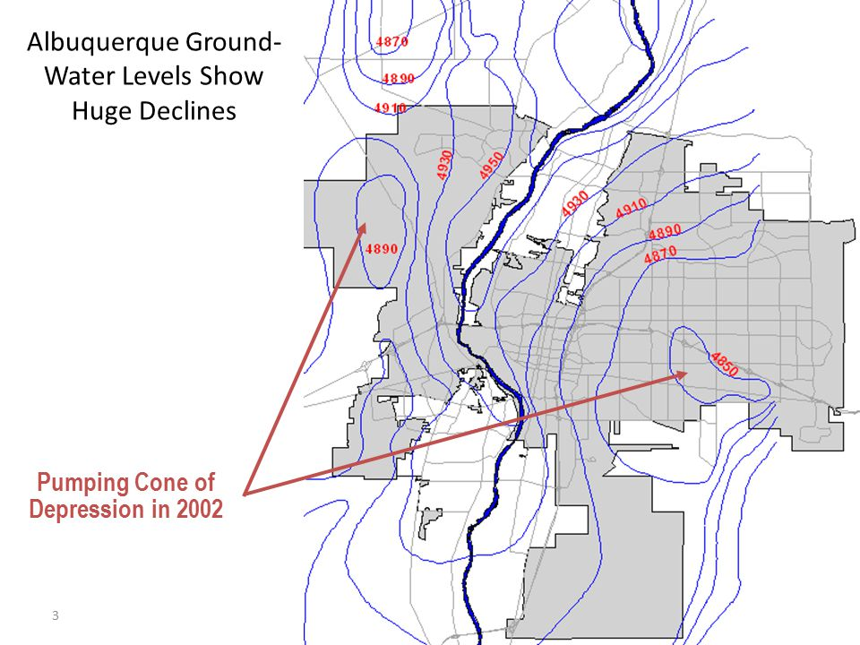 3 Pumping Cone of Depression in 2002 Albuquerque Ground- Water Levels Show Huge Declines