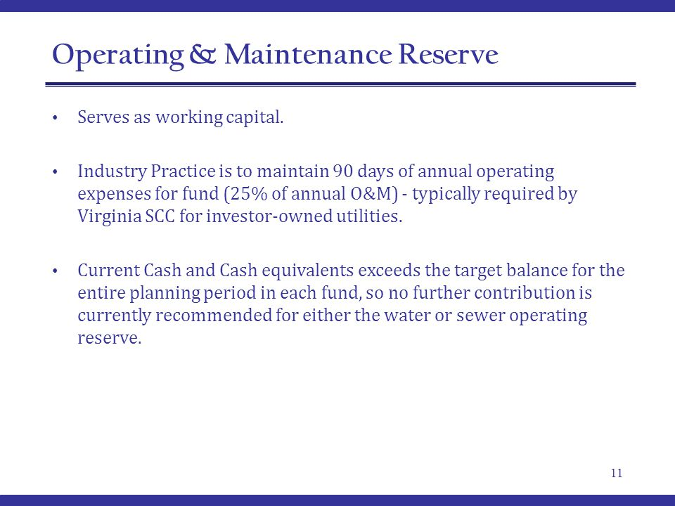 Operating & Maintenance Reserve 11 Serves as working capital.