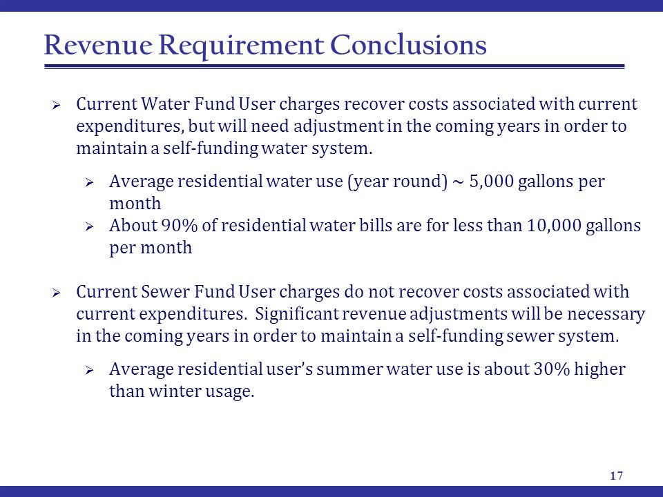 Revenue Requirement Conclusions  Current Water Fund User charges recover costs associated with current expenditures, but will need adjustment in the coming years in order to maintain a self-funding water system.