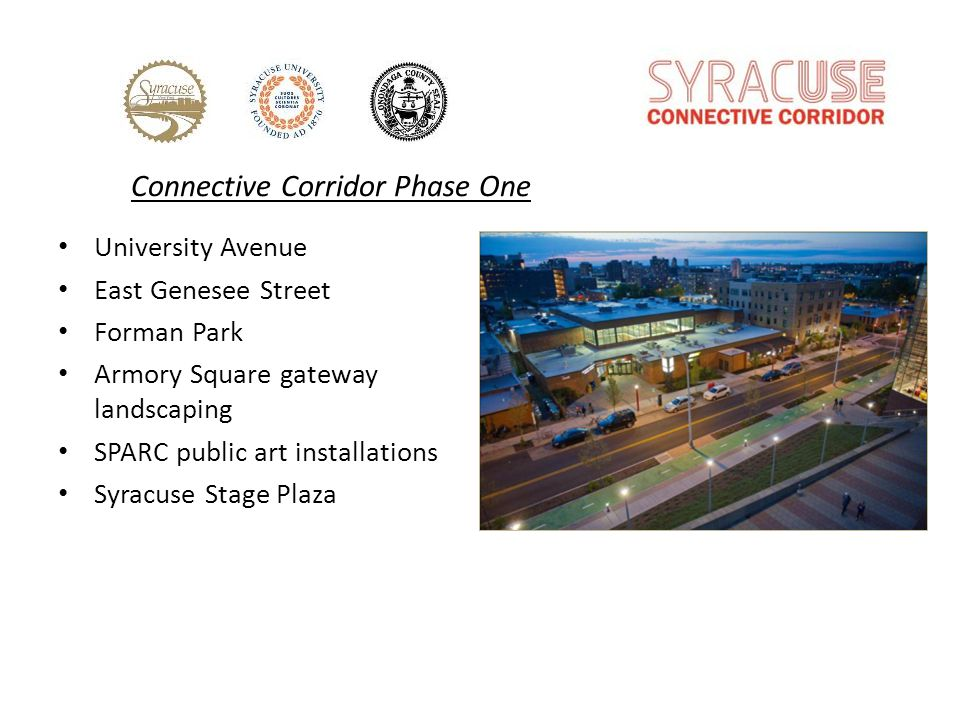 University Avenue East Genesee Street Forman Park Armory Square gateway landscaping SPARC public art installations Syracuse Stage Plaza Connective Corridor Phase One