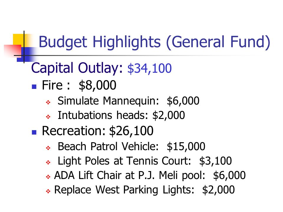Budget Highlights (General Fund) Other Uses/Transfers Fire Reserve $0 Reserve for Comprehensive Plan (3 cents gas tax): $0 Aid to Non-profit Organizat
