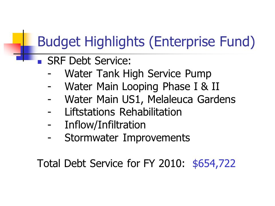 Budget Highlights (Enterprise Fund) Inter-Fund Transfers from Water, Sewer and Stormwater Fund to General Fund is $582,976 a 7.5% increase Sewer Treat