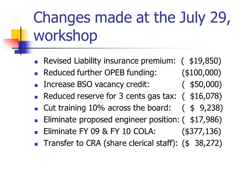 Changes made at the July 29, workshop Revised Liability insurance premium: ( $19,850) Reduced further OPEB funding: ($100,000) Increase BSO vacancy credit:( $50,000) Reduced reserve for 3 cents gas tax:( $16,078) Cut training 10% across the board:( $ 9,238) Eliminate proposed engineer position:( $17,986) Eliminate FY 09 & FY 10 COLA:($377,136) Transfer to CRA (share clerical staff):($ 38,272)