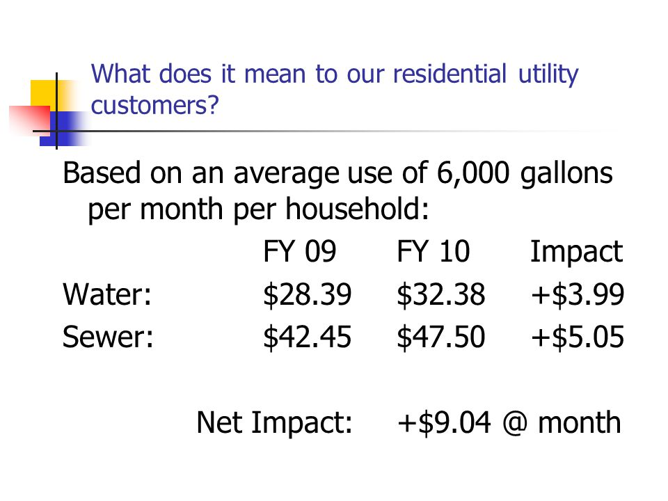 FY 2010 Proposed Annual Rates Water:14% Sewer12% Storm Water Rate:$25 per ERU