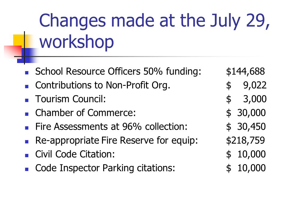 Capital Projects Fund Fire Station washer and dryer: $11,051 New Equipment for Ladder Truck: $218,759 New Equipment for Rescue Truck: $121,680 Phase I replacement of Self Contained Apparatus: $93,633 Replacement of Fire Staff Vehicle $17,312 Replacement of one vehicles: Public Services $28,742