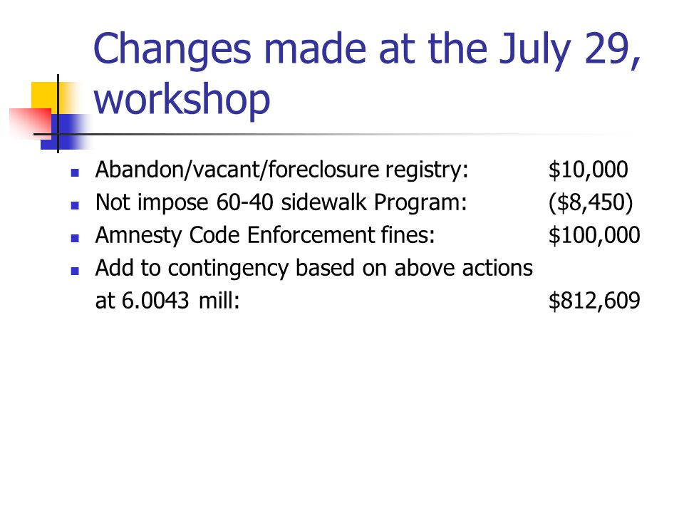 Changes made at the July 29, workshop Abandon/vacant/foreclosure registry: $10,000 Not impose 60-40 sidewalk Program:($8,450) Amnesty Code Enforcement fines:$100,000 Add to contingency based on above actions at 6.0043 mill:$812,609