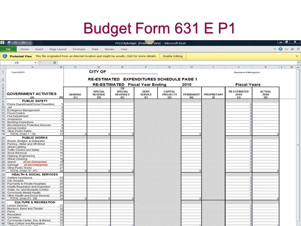 Budget Form 631 E P1