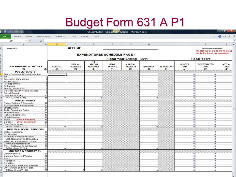 Budget Form 631 A P1