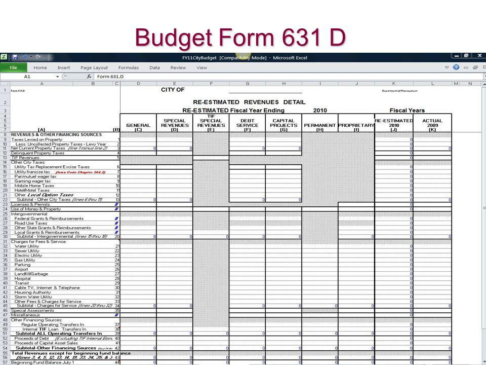 Budget Form 631 D