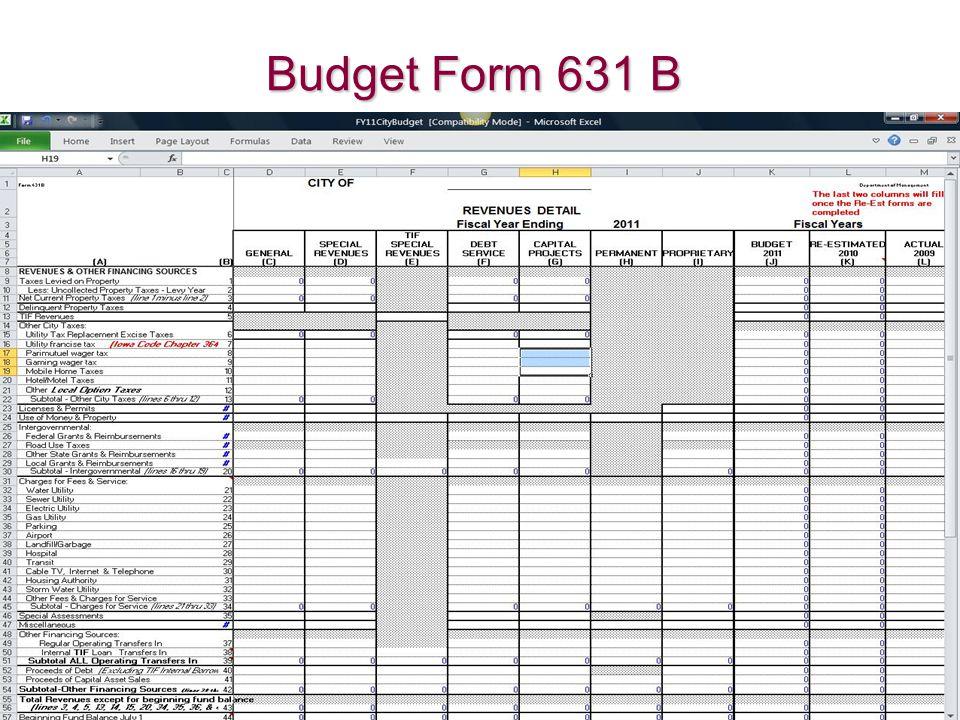 Budget Form 631 B