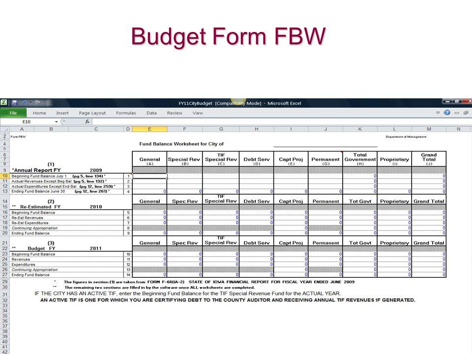 Budget Form FBW