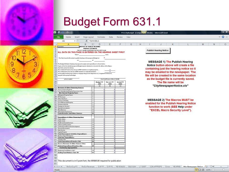 Budget Form 631.1