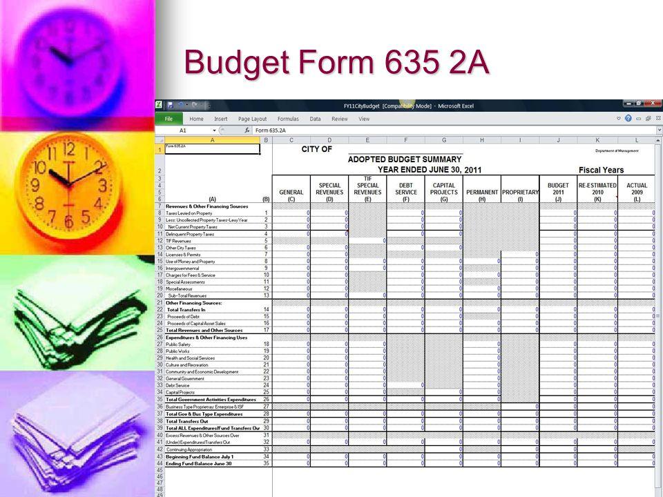 Budget Form 635 2A