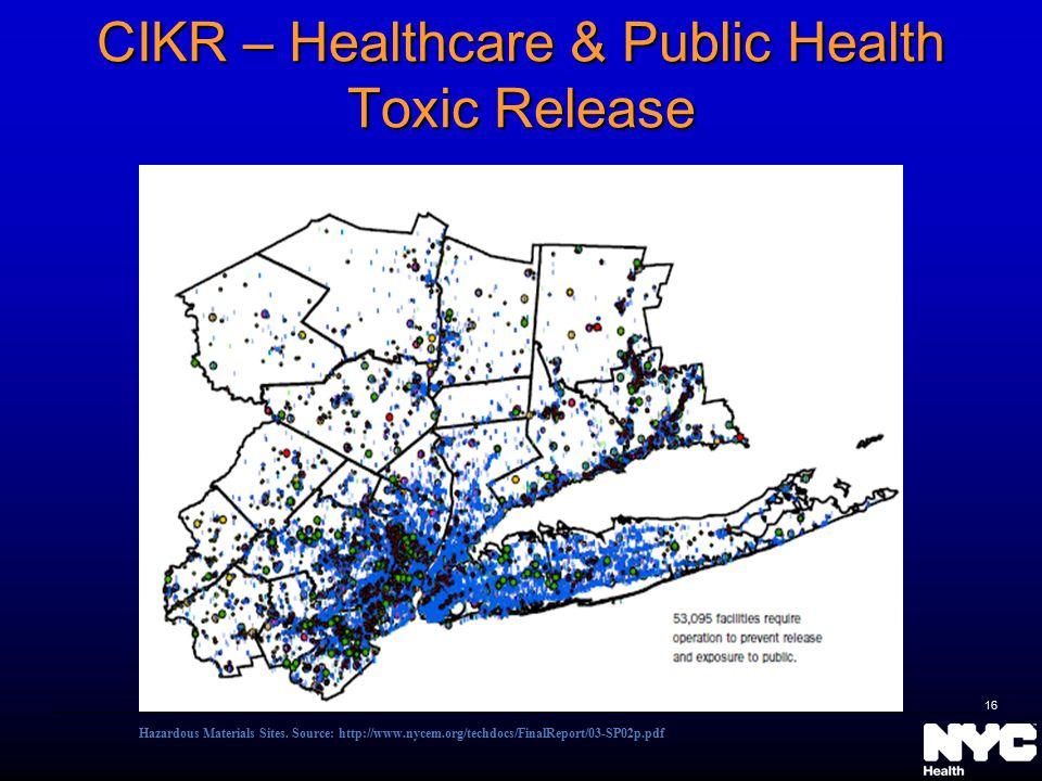 CIKR – Healthcare & Public Health Toxic Release Hazardous Materials Sites.