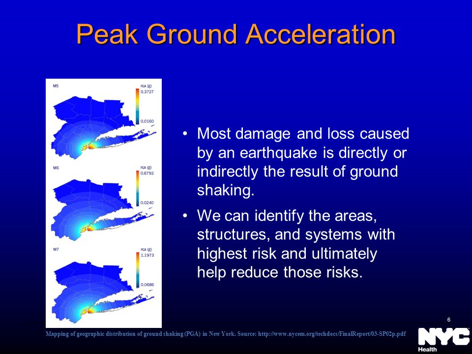 Peak Ground Acceleration Most damage and loss caused by an earthquake is directly or indirectly the result of ground shaking. We can identify the area