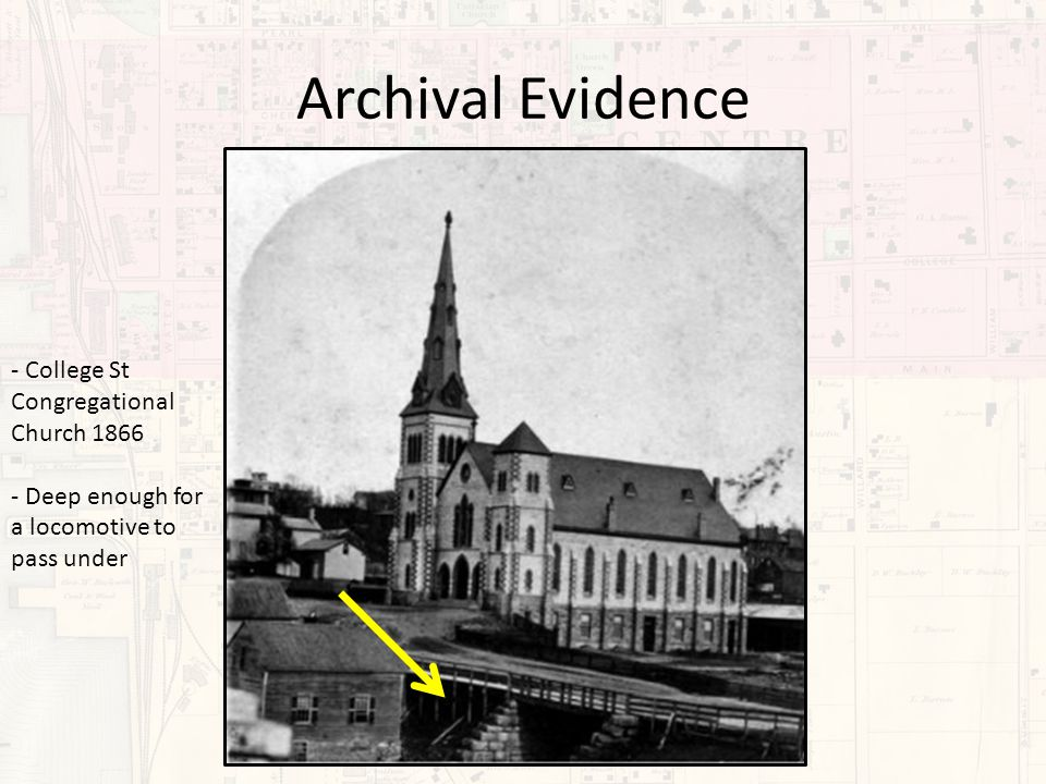 Archival Evidence - College St Congregational Church 1866 - Deep enough for a locomotive to pass under