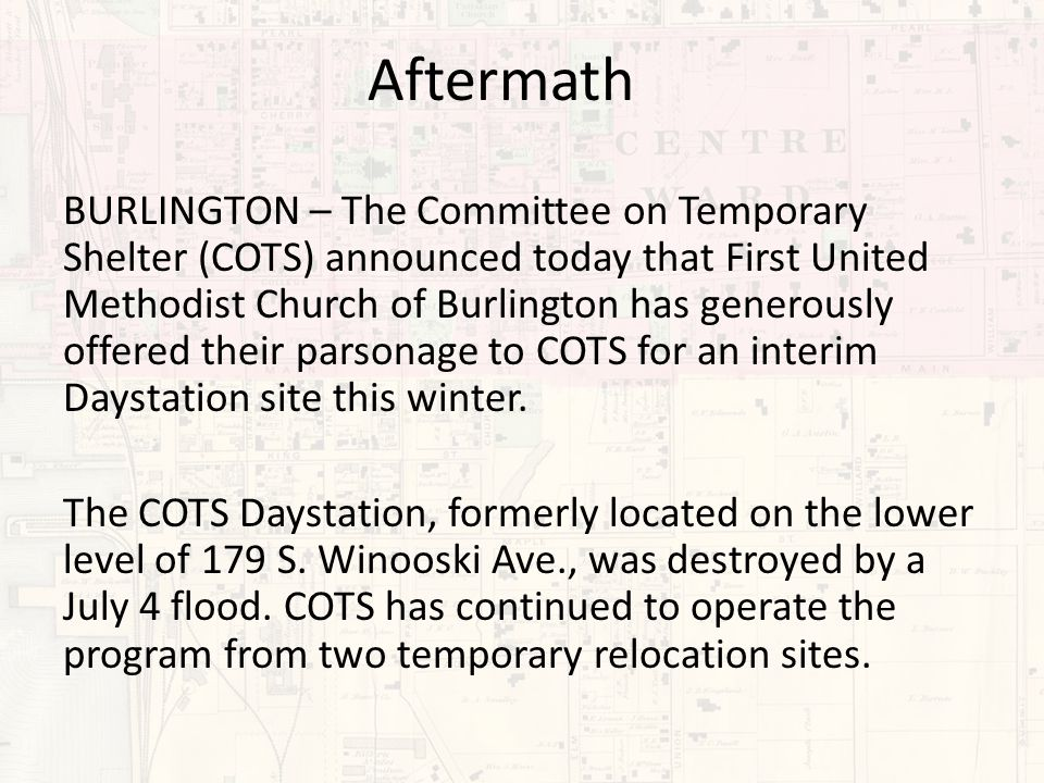 BURLINGTON – The Committee on Temporary Shelter (COTS) announced today that First United Methodist Church of Burlington has generously offered their parsonage to COTS for an interim Daystation site this winter.