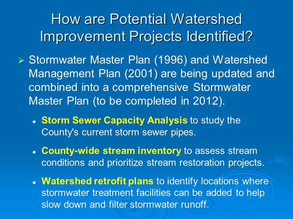 How are Potential Watershed Improvement Projects Identified.