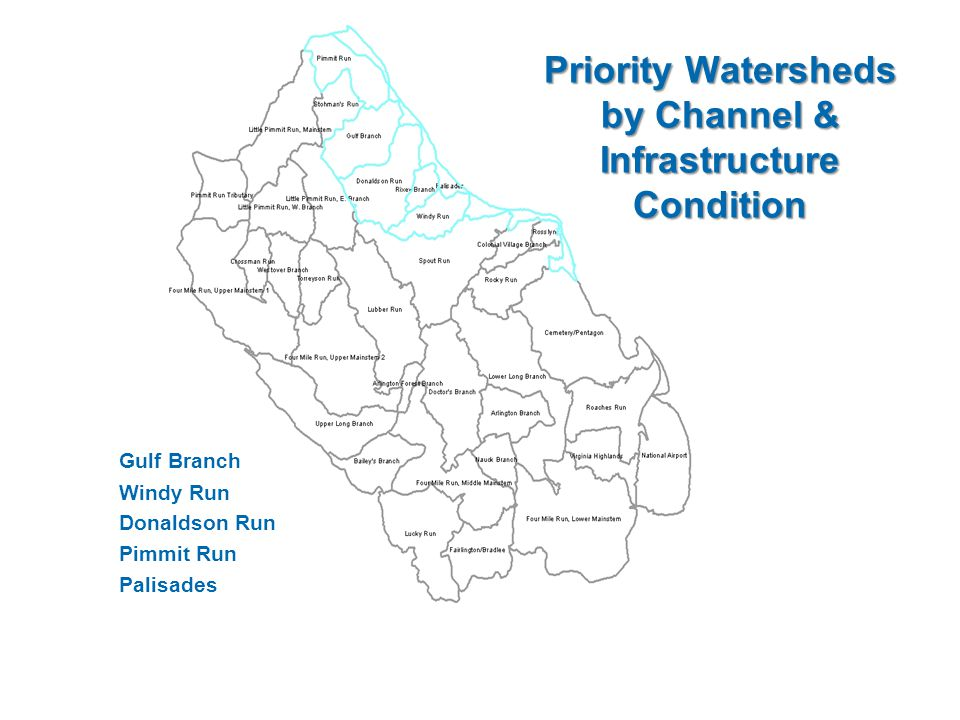 Priority Watersheds by Channel & Infrastructure Condition Gulf Branch Windy Run Donaldson Run Pimmit Run Palisades