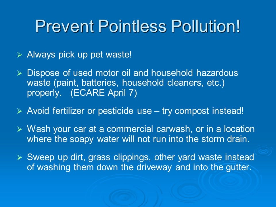 Prevent Pointless Pollution.   Always pick up pet waste.