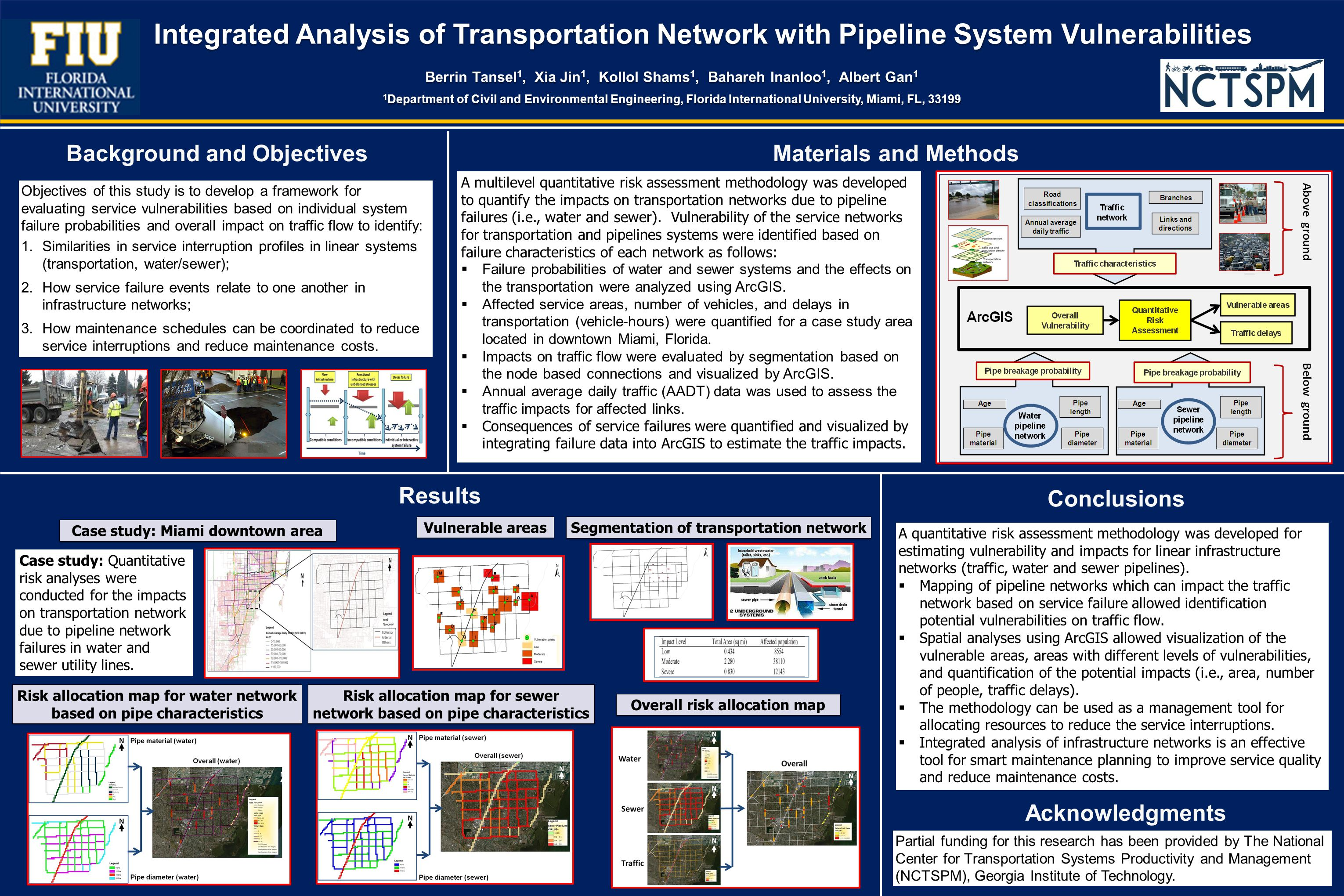 Integrated Analysis of Transportation Network with Pipeline System Vulnerabilities Berrin Tansel 1, Xia Jin 1, Kollol Shams 1, Bahareh Inanloo 1, Albert Gan 1 1 Department of Civil and Environmental Engineering, Florida International University, Miami, FL, 33199 Integrated Analysis of Transportation Network with Pipeline System Vulnerabilities Berrin Tansel 1, Xia Jin 1, Kollol Shams 1, Bahareh Inanloo 1, Albert Gan 1 1 Department of Civil and Environmental Engineering, Florida International University, Miami, FL, 33199 Figure 2 Objectives of this study is to develop a framework for evaluating service vulnerabilities based on individual system failure probabilities and overall impact on traffic flow to identify: 1.Similarities in service interruption profiles in linear systems (transportation, water/sewer); 2.How service failure events relate to one another in infrastructure networks; 3.How maintenance schedules can be coordinated to reduce service interruptions and reduce maintenance costs.