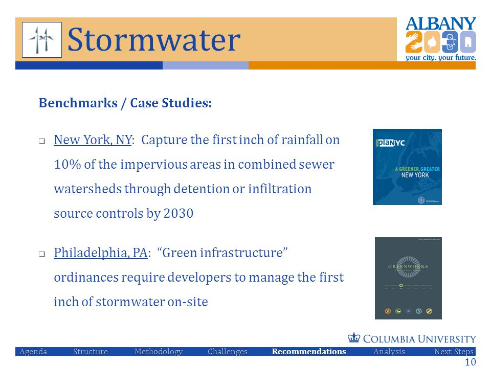 Stormwater Benchmarks / Case Studies:  New York, NY: Capture the first inch of rainfall on 10% of the impervious areas in combined sewer watersheds t