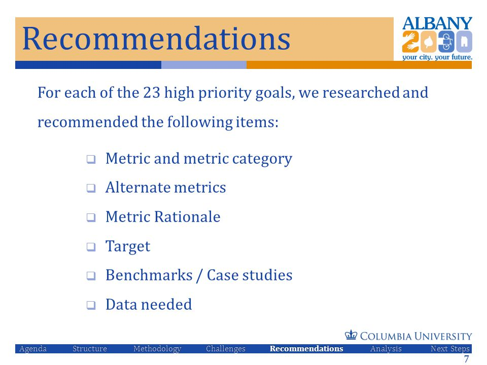 Recommendations For each of the 23 high priority goals, we researched and recommended the following items:  Metric and metric category  Alternate me