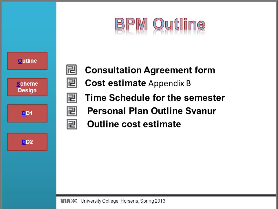 University College, Horsens, Spring 2013 Group 5 SScheme Design DDD1 OutlineO DDD2 Time Schedule for the semester Personal Plan Outline Svanur Outline cost estimate Cost estimate Appendix B Consultation Agreement form