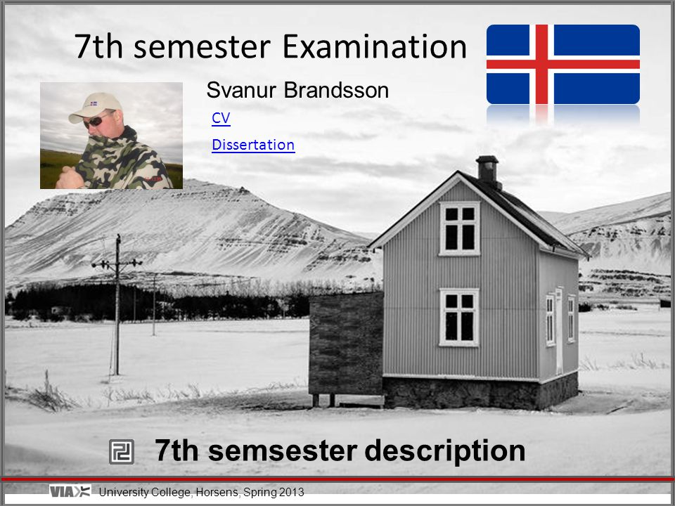 University College, Horsens, Spring 2013 Svanur Brandsson 7th semester Examination CV Dissertation 7th semsester description
