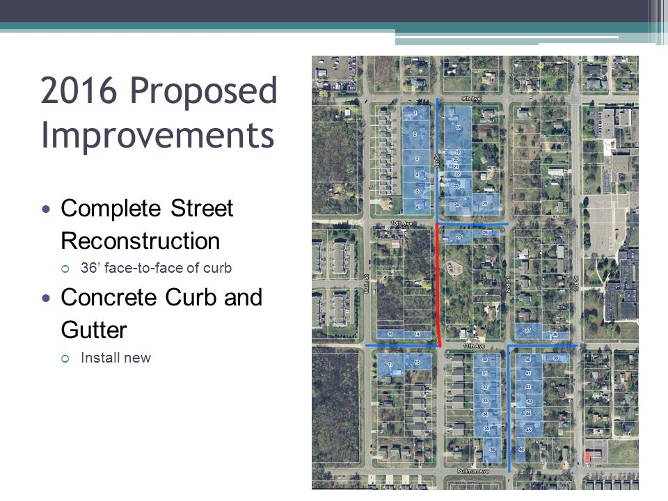 2016 Proposed Improvements Complete Street Reconstruction  36' face-to-face of curb Concrete Curb and Gutter  Install new