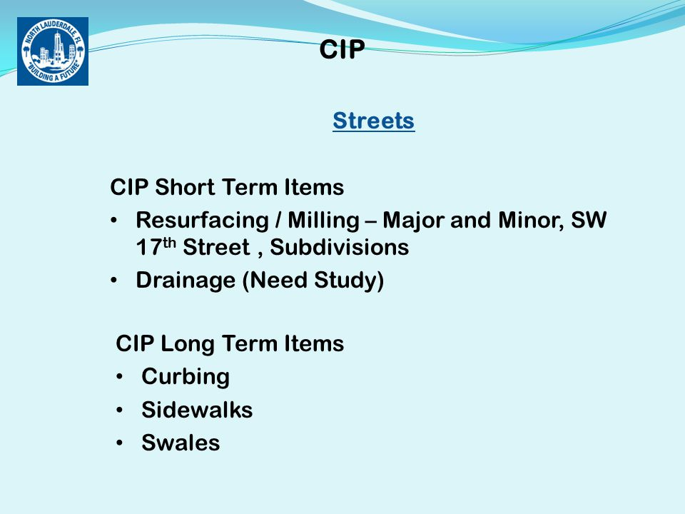Streets CIP Short Term Items Resurfacing / Milling – Major and Minor, SW 17 th Street, Subdivisions Drainage (Need Study) CIP CIP Long Term Items Curbing Sidewalks Swales
