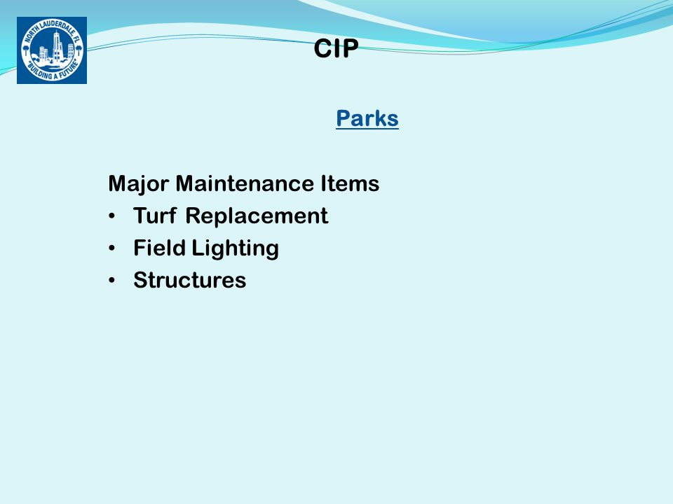 Parks Major Maintenance Items Turf Replacement Field Lighting Structures CIP