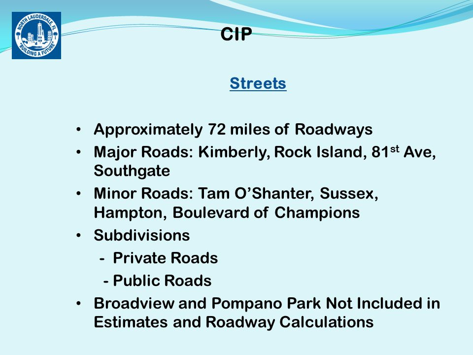 Streets Approximately 72 miles of Roadways Major Roads: Kimberly, Rock Island, 81 st Ave, Southgate Minor Roads: Tam O'Shanter, Sussex, Hampton, Boulevard of Champions Subdivisions - Private Roads - Public Roads Broadview and Pompano Park Not Included in Estimates and Roadway Calculations CIP