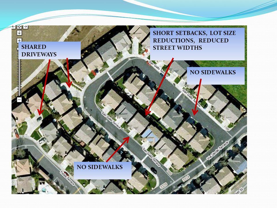 NO SIDEWALKS SHORT SETBACKS, LOT SIZE REDUCTIONS, REDUCED STREET WIDTHS SHARED DRIVEWAYS