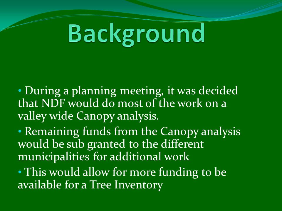 During a planning meeting, it was decided that NDF would do most of the work on a valley wide Canopy analysis.