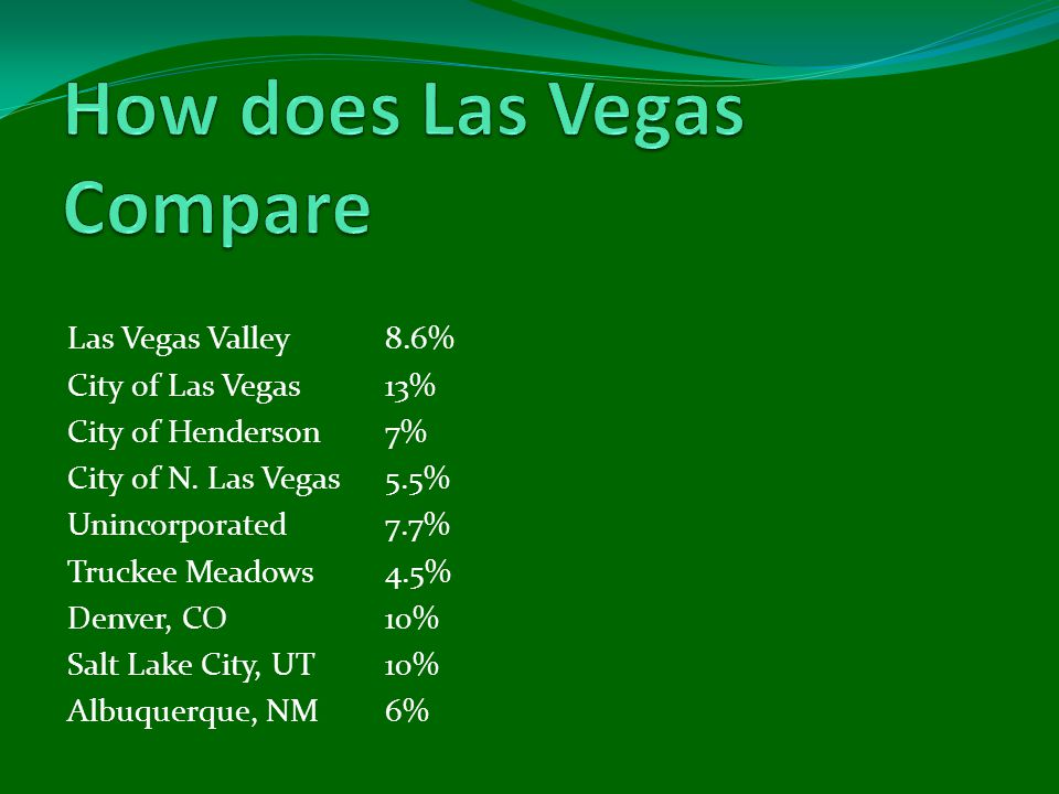 Las Vegas Valley 8.6% City of Las Vegas13% City of Henderson7% City of N.
