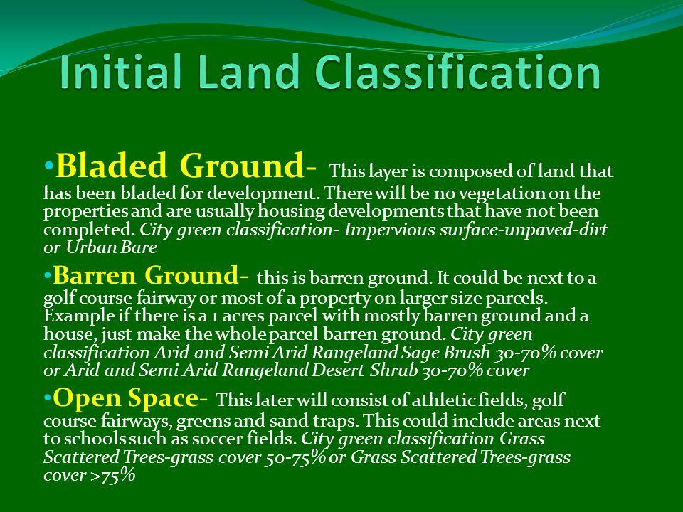 Land TypeAcresPercentage Arid & Semi-Arid Rangeland: Sagebrush: Ground cover 30% - 70%12,654.825.2 Impervious Surfaces: Paved2,260.64.5 Impervious Surfaces: Paved: Drain to sewer5,977.311.9 Impervious Surfaces: Unpaved: Dirt3,091.86.2 Open Space - Grass/Scattered Trees2,020.04.0 Open Space - Grass/Scattered Trees: Grass cover > 75%2,060.94.1 Trees: Grass/turf understory: Ground cover > 75%3,545.17.1 Urban: Commercial/Business2,040.44.1 Urban: Residential12,881.225.7 Urban: Western Desert3,184.56.3 Water Area496.11.0 Total:50,212.6100.0%