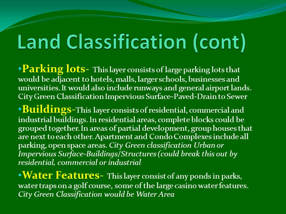 Land TypeAcresPercentage Arid & Semi-Arid Rangeland: Sagebrush: Ground cover 30% - 70%33,387.742.8% Impervious Surfaces: Paved4,871.66.2% Impervious Surfaces: Paved: Drain to sewer638.60.8% Impervious Surfaces: Unpaved: Dirt2,719.93.5% Open Space - Grass/Scattered Trees4,205.05.4% Open Space - Grass/Scattered Trees: Grass cover > 75%4,134.95.3% Trees: Grass/turf understory: Ground cover > 75%1,966.32.5% Urban: Commercial/Business1,829.82.3% Urban: Residential272.80.3% Urban: Western Desert23,492.430.1% Water Area490.30.6% Total:78,009.4100.0%