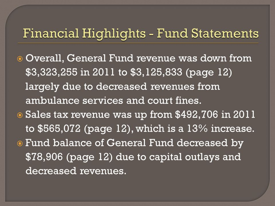 Overall, General Fund revenue was down from $3,323,255 in 2011 to $3,125,833 (page 12) largely due to decreased revenues from ambulance services and court fines.