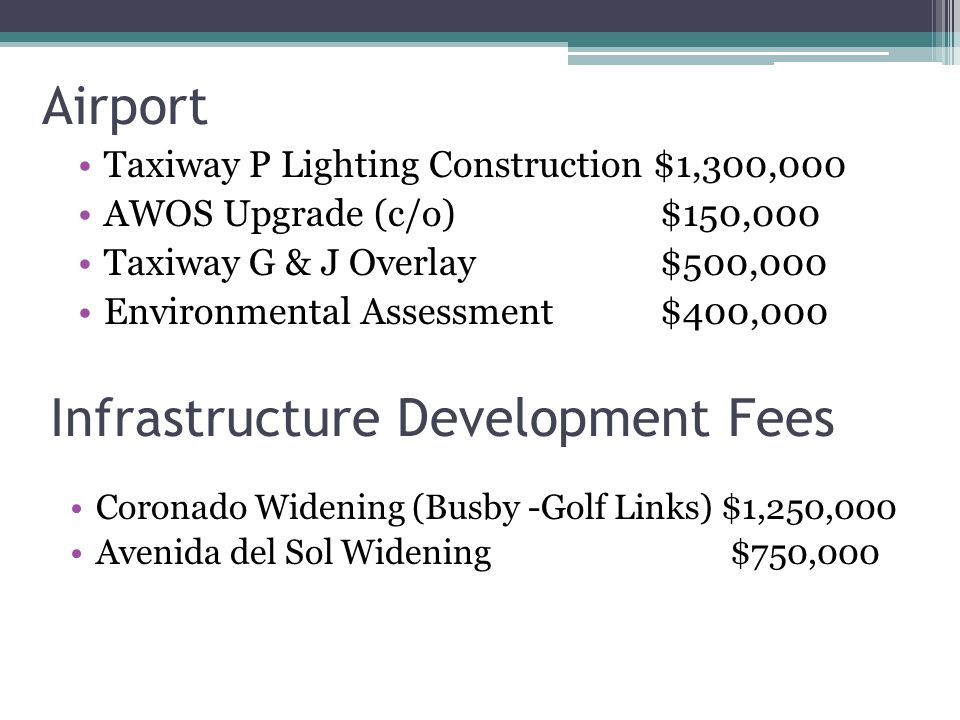 Airport Taxiway P Lighting Construction $1,300,000 AWOS Upgrade (c/o) $150,000 Taxiway G & J Overlay $500,000 Environmental Assessment $400,000 Infrastructure Development Fees Coronado Widening (Busby -Golf Links) $1,250,000 Avenida del Sol Widening$750,000