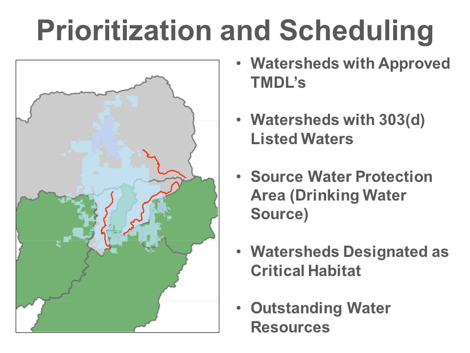 Prioritization and Scheduling Watersheds with Approved TMDL's Watersheds with 303(d) Listed Waters Source Water Protection Area (Drinking Water Source) Watersheds Designated as Critical Habitat Outstanding Water Resources