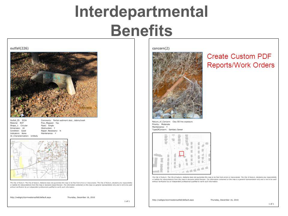 Interdepartmental Benefits Create Custom PDF Reports/Work Orders