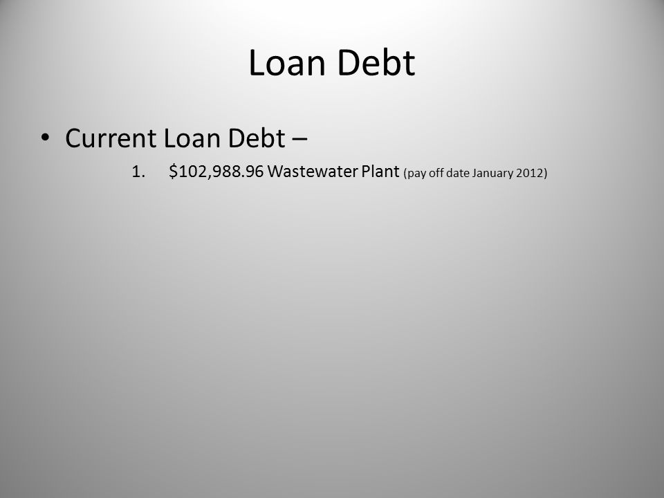 Loan Debt Current Loan Debt – 1.$102,988.96 Wastewater Plant (pay off date January 2012)