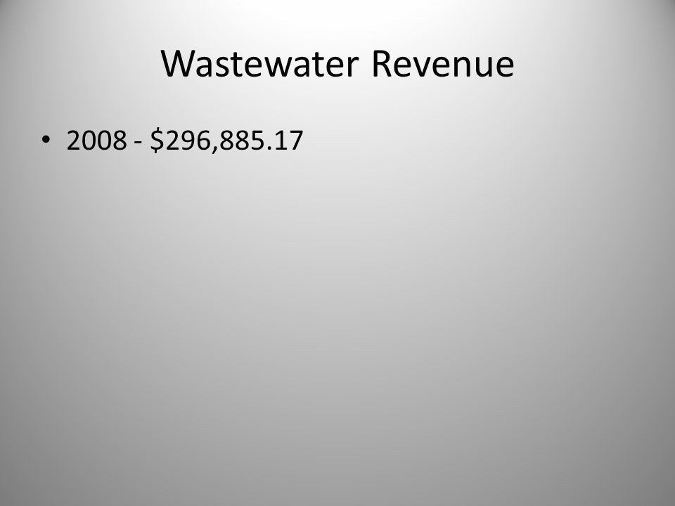 Wastewater Revenue 2008 - $296,885.17