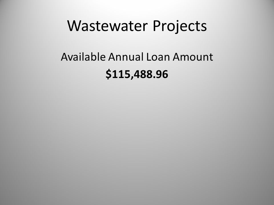 Wastewater Projects Available Annual Loan Amount $115,488.96
