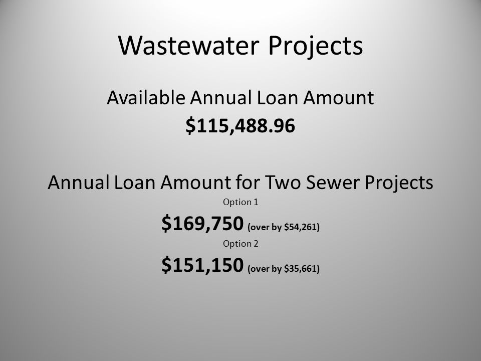 Wastewater Projects Available Annual Loan Amount $115,488.96 Annual Loan Amount for Two Sewer Projects Option 1 $169,750 (over by $54,261) Option 2 $151,150 (over by $35,661)