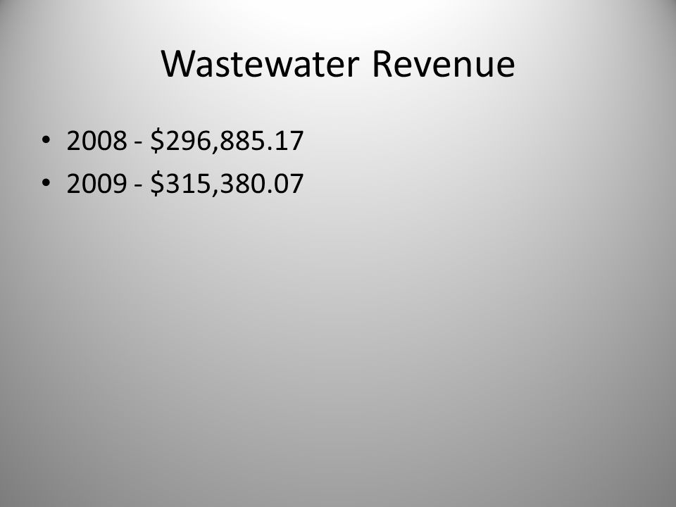 Wastewater Revenue 2008 - $296,885.17 2009 - $315,380.07
