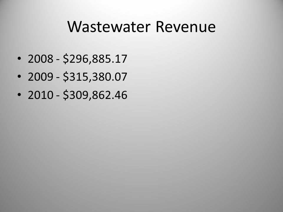 Wastewater Revenue 2008 - $296,885.17 2009 - $315,380.07 2010 - $309,862.46