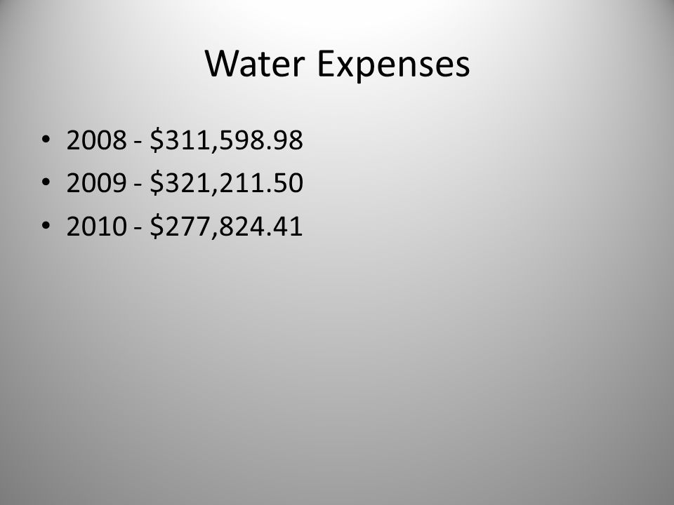 Water Expenses 2008 - $311,598.98 2009 - $321,211.50 2010 - $277,824.41